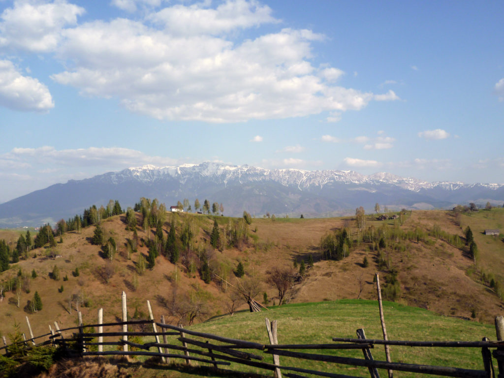 Pestera village and Bucegi mountains